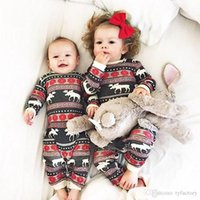 Wholesale Cute Baby Boy Pajamas - Baby Boy Girl Christmas Clothes Winter Jumpsuit Cute Romper Cotton Kid Red Pajamas Snow Flower Reindeer Kid Clothing 3-18M Factory Clothes