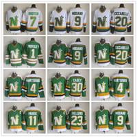 minnesota north stars jerseys al por mayor-CCM Minnesota North Dallas Stars Hockey Jerseys 1 Gump Worsley 9 Mike Modano 20 Dino Ciccarelli 11 JP PARISE 4 Craig Hartsburg Jersey