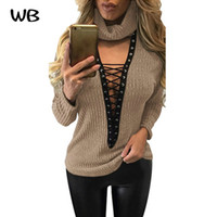 Wholesale club computer - Wholesale-5 Colour Autumn Winter Knitted Pullovers Women Sweater Tops Sexy Club Wear Lace up V-neck Women Fashion Long sleeve Sweater