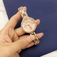 Wholesale Inlay Watches - Casual Luxury Women Quartz Watches Three chain Bracelet Tassels style Gold Watch strap Rhinestone Diamond inlay Clock dial 4 Color