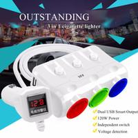 Wholesale 12 volt socket adapter for sale - Group buy Cigarette Lighter Car Charger V W Sockets Adapter Splitter A Dual USB For Car DVR Radar Detector iPhone Tablet PC