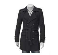 einzigartig lässig großhandel-Mode neue Männer Casual Schultergurt Double-Treasted Trench Long Coat Revers Slim Fit Trenchcoats einzigartige Herrenbekleidung