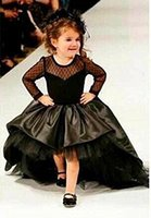 Wholesale girls pagent dresses for sale - Group buy 2017 High Low Black Flower Girl Dresses First Communion Pagent Dress with Long Sleeves