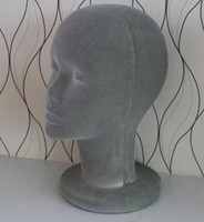 Wholesale Head Hat Stand - Freeshipping wholesale Female Flocking Foam Bald male Mannequin Head Wigs Hats Glasses Headphone Display Model Stand gray 1PC B613