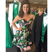 Wholesale Rosette Homecoming Dresses - Floral Print Taffeta Short Teenage Homecoming Dress 2017 A Line Sweetheart Party Skirt Strapless Rosette Pageant Prom Gown Lewande 50146