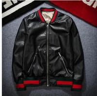 Wholesale Mens Pilot Jacket Fur - Wholesale- Fashion Design Tiger Embroidery Unisex Bomber Jacket 2016 Mens PU Leather Motorcycle Pilot Jackets