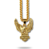 Wholesale Men Gold Eagle Necklace - 18K Real Gold Plated Men Necklace With Eagle Pendant Jewelry Luxury Hip Hop Neck Jewelry Free 75cm Link Chain For Men Gift