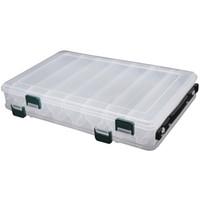 Wholesale Plastic Box Compartments Double Sided - Wholesale- 27*18*4.7CM Fishing Tackle Double Sided Plastic Fishing Lure Box 14 Compartments