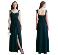 19c9caccdd8 Wholesale junior dresses for weddings online - Bill Levkoff Navy Blue  Chiffon Long Bridesmaid Dresses for