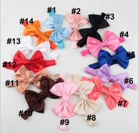 Wholesale Small Grosgrain Hair Bows - Baby Girl Small Bow Tie Headband DIY Grosgrain Ribbon Bow Elastic Hair Bands For Infant Toddler Hair Accessories YH552
