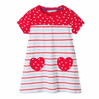 Wholesale Girl Stripe Tutu Sleeveless Dress - Everweekend Cute Girls Candy Stripes Cotton Dress Summer Polka Dots Dresses with Love Patchwork Western Fashion Cute Dresses
