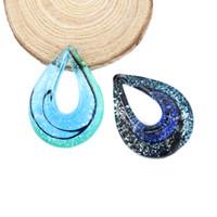 Wholesale red heart art - Hot sale Fused Lampwork Glass Pendant Big Drop Shaped Handmade Art Necklace Pendants 12pcs box, MC0027