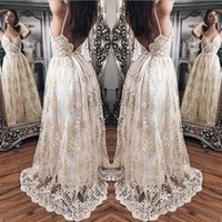 Wholesale Stunning Princess Prom Dresses - V-Neck Princess A-Line Prom Dress Lace Applique Sleeveless Sexy Zipper Backless Evening Party Dress Stunning Tulle Sweep Train Evening Gowns