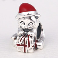Wholesale kitten love resale online - 2016 S925 Sterling Silver Christmas Kitten Charm Bead with Red Enamel Fits European Pandora Style Jewelry Bracelets Necklace
