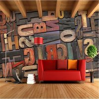 Wholesale Alphabet Wall Paper - Wholesale- photo wallpaper High quality 3D stereoscopic wood alphabet wall paper Cafe Bar wallpaper mural painting for living room