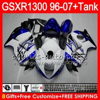 carenado para 97 gsx al por mayor-blanco negro 8Regalos 23Colores para SUZUKI Hayabusa GSXR1300 96 97 98 99 00 01 15HM34 GSXR 1300 GSX R1300 GSXR-1300 02 03 04 05 06 07 Carenado