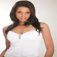 ingrosso capelli biondi asiatici-XT744 Le donne asiatiche sono popolari nei capelli lunghi dritti a base di fibre naturali con frangia marrone in frangia obliqua