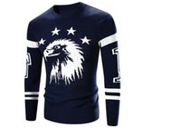 Wholesale Western Knitted Style Sweaters - Wholesale- men sweater western style thick sweater Eagle embroidery design men sweaters