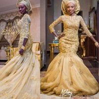 Wholesale Three Quarter Sleeve Wraps - 2017 Arabic Mermaid Gold Lace Wedding Dresses African Nigerian Appliques Three Quarter Sleeves Bridal Gowns With Tulle Wrap
