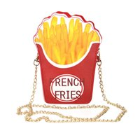 Wholesale French Fries Phone - Wholesale-New Fashion Women Bag Unique Popcorn Shape Messenger Bags Small PU Leather Clutch Handbags Hamburger French Fries with chain