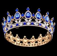 Wholesale King Crowns Tiaras - Pageant Full Circle Tiara Clear Austrian Rhinestones King   Queen Crown Wedding Bridal Crown Costume Party Art Deco