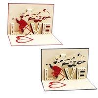 pop up carte coeur 3d achat en gros de-Vente en gros 3D Pop Up cartes coeur de Cupidon Happy Valentine anniversaire anniversaire Noël-Y103