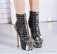 Wholesale Plush Snakes - 16cm 2017 Snake Grain Printed Rivets Shoes Closed Toe Platform Heels Party Queen Size 35 To 40