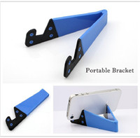 Wholesale Pc Portable Aluminium - Wholesale-Hot Colorful Portable Tripod Tablet PC Stand Holder Universal V Shape Foldable Tablet Bracket For Ipad Tablet Cell Phone Oc20