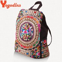 Wholesale Chinese Backpacks Free Shipping - Wholesale- Free shipping backpacks Ethnic embroidery bags wholesale fashion personality Ethnic Chinese style backpack bag lady bags