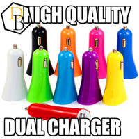 Wholesale Mini Ipad Car Micro Adapter - Cell Phone Charger Mini Micro Dual USB Car colorful Charger Adapter Port 5V 1A For iPhone 6 5 Ipad Samsung HTC LG Sony