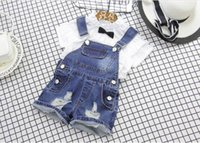 Wholesale Denim Overalls Sets - 2017 Summer New Baby Girl Sets cotton Short sleeve T-shirt+denim overall Fashion Outfit Children Clothing 2-7T AQ828