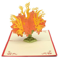 Vendita all'ingrosso-Hot Handcrafted Origami Greeting Card regalo 3D Pop Up Handmade Stereo Colorful Flower Bouquet Congratulazioni Envelope Busta