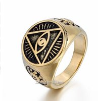 Wholesale Signet Silver - 2017 Mens Illuminati The All-seeing-eye illunati pyramid eye symbol Silver Tone Gold Color 316L Stainless steel Signet Ring