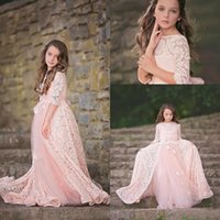 Wholesale Short Fluffy Lace Dresses - Fall 2017 Amazing Blush Pink Lace and Tulle Flower Flower Girl Dress Bateau Neck Fluffy A Line Girls Formal Dresses with Delicate Flowers