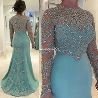 Wholesale fashion mint lace plus size mermaid resale online - Mint Green Vintage Mermaid Mother Of The Bride Dresses Long Sleeve Beads Crystal Lace Appliqued Plus Size Satin Formal Guest Evening Dress