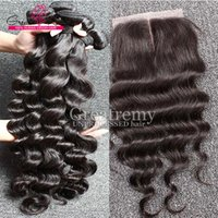 """Wholesale Top Knots Hair Wholesale - Peruvian Hair Extensions 4Bundles Loose Deep Wave with Bleached Knots Lace Closure 4""""x4"""" HairPiece Human Hair Top Closure Dyeable Greatremy"""