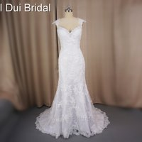 Wholesale Sheath Style Lace Wedding Dress - Vestido De Noiva Real Photo Cap Sleeve Sheath Wedding Dress Lace Appliqued Real Photo 2016 New Style Factory Custom Make 6105