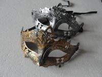 gladyatörler maskeleri toptan satış-Retro Greco Roma Mardi Gras Gladyatör masquerade Mens Maske için Altın / Gümüş Maske gümüş Karnaval Cadılar Bayramı Maskeleri 10 adet