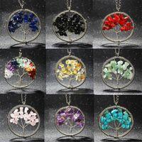 Wholesale Christmas Plates Bulk - 15 Colors Natural Stone Necklace Rainbow 7 Chakra Tree Of Life Quartz Pendant Statement Necklace Christmas Gift Jewelry Bulk Price
