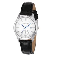Wholesale Mens Watch Faces Wholesale - 2017 new lovers leather calendar watch fashion unisex mens women date blue face silver roma dial dress party quartz watches