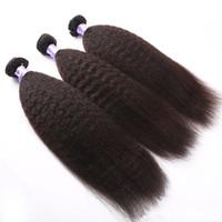 sınıf 5a saç demetleri toptan satış-Sınıf 5A - Kinky düz dalga Doğal Renk saç demeti ile parça başına 90g, Drop Shipping