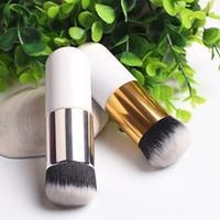 pinceau de maquillage tête plate achat en gros de-1pc gros tête ronde maquillage pinceaux fond de teint brosse pinceis de maquiagem professionnel cosmétiques faire pinceaux outil