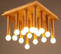 Wholesale Wood Ceiling Lamps - LOFT Modern Fashion Simple Creative Wood LED Ceiling Light Bedroom Balcony Aisle Lamp Dining Room Light FREE SHIPPING MYY