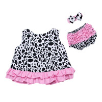Wholesale Cow Headband - Cow Baby Clothes Ruffle Sleeveless Top Bloomer Headband Baby Girls Clothing Set Summer Swing Top Baby Children Outfit Kids Cloth