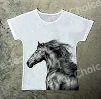 Фотографии horse Цены-Track Ship + New Vintage Retro T-shirt Top Tee Strong Pen Drawing Wild Horse Простая ручка Picture 1314