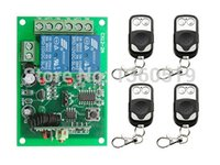 Wholesale Rf Radio Switch - Wholesale-NEW DC12V 2CH 10A Radio Controller RF Wireless Push Remote Control Switch 315 MHZ 433 MHZ teleswitch 4 Transmitter +1 Receiver