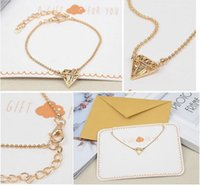 Wholesale Golden Chains For Wedding - 18k Rose Golden Diamond Chain Wedding Bday Jewelry Bracelet Gift Present Charm Bracelets Jewellry A Gift For Girlfriend With Envelop Package