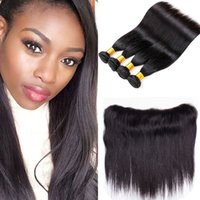 Kinky Straight Raw Indian Hair 4 Bundles com Frontal 7A Virgin Brazilian Remy Hair Unprocessed Double Drawn Virgin Cheap Hair Extensions