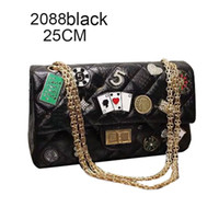 Wholesale Stylish Lady Leather Bag - Small Chains Lady Bags Genuine Leather Designer Shoulder Bags Sequins Stylish Shoulder Bags for Socialite 2088