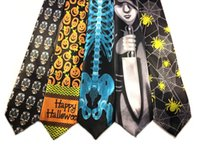Wholesale Gray Necktie - 2017 New Cheap Halloween Custome Necktie Ghost Day Printing Skull Spider Polyester 140 cm Kid Gift Festival Celebration Party Decoration